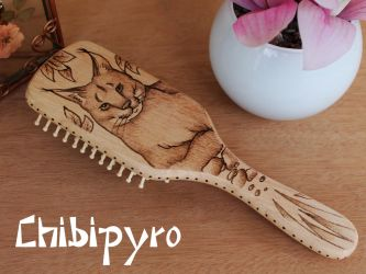 Wooden hairbrush Lynx by ChibiPyro