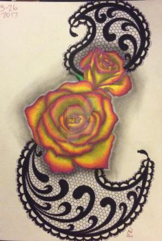 Colored roses on lace