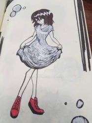 sketchbook red shoes girl by myminty