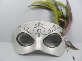 Steampunk inspired masquerade mask in silver by maskedzone