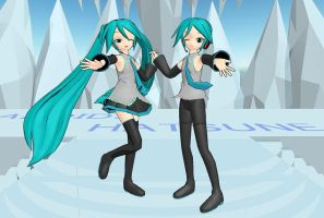 Hatsune Miku and Mikuo by DaDoofus