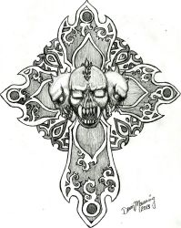 Skull Cross by xlostfaith