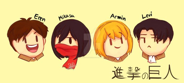 Attack on Titan chibis by SnookieVonPink123