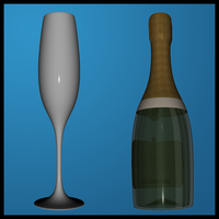 Champagne and Glass by Stock-by-Dana