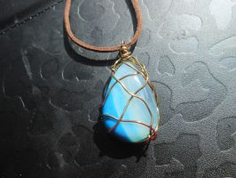 Blue banded bronze wire wrapped pendant necklace by Cre8tivedesignz