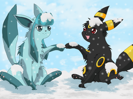 Playing in the snow by BekkiDarliin