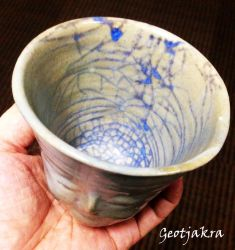 Face Cup With Blue Crackle by Geotjakra