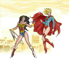 Wonder woman vs supergirl (Colored using GIMP) by electronicdave