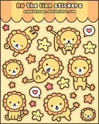 Ru the lion stickers by SqueakyToybox