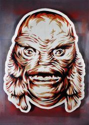 Creature from the Black Lagoon on wood by epyon5