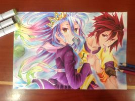 Shiro and Sora from No game no life by RPanimedrawing