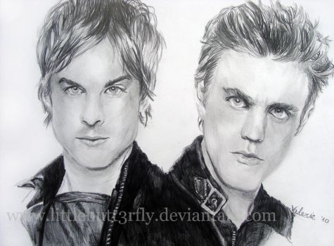 Damon and Stefan by littlebutt3rfly