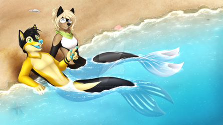 Chillaxin on the beach by Alucard-Canidae
