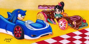 Sonic and Vanellope: Sweet Ride by RAWN89