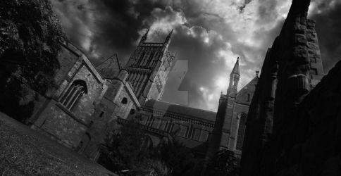 Worcester Cathedral Black and White by Snaptheshot89