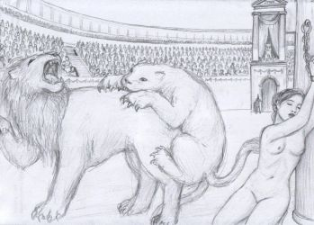 Thecla and the Lions by dashinvaine