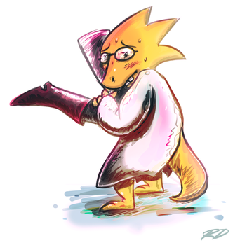 Alphys and Leg by NegitiveX