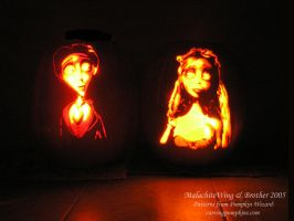 Corpse Bride Pumpkin Carvings by MalachiteWing