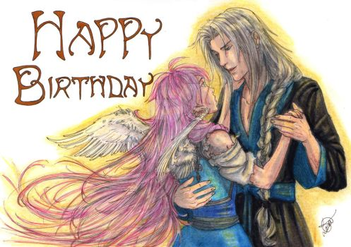 Sephiroth and Mia by AurelGweillys