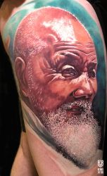 Realistic Japanese Old Man Colored Tattoo by Remistattoo