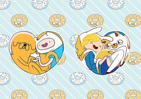 finn and jake  /  fionna and cake   T-Shirt by rabbitpaintpen