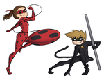 Isabel and Green as Ladybug and Chat Noir by MeowMix72