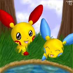 Plusle and Minun by pdutogepi