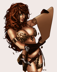 Adam Hughes' Red Sonja by sketchandthecity