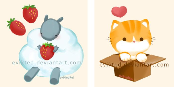 Sheepie Creme + Cat Box Love by evikted
