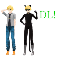 [MMD]Adrien and Chat Noir DL! by Malilangelo
