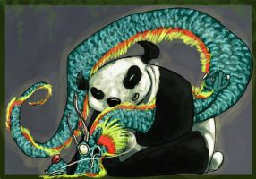 panda and dragon   NO by knez-iole
