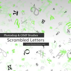 Scrambled Letters Photoshop and GIMP Brushes by redheadstock
