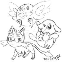 Pokemon Sun and Moon Starter sketch by Togekisser