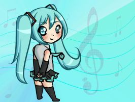 Chibi Miku - Wallpaper by XxLei-chanxX