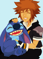 Stitch and Sora by borearisu