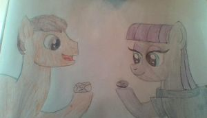 Creative Wave (my pony form) and Maud Pie by Dracorider19