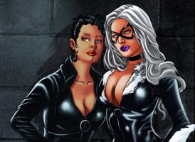 Blackcat and Catwoman01 by Troianocomics