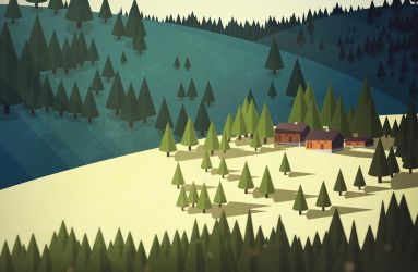 Mountains and forest by gloomilygray