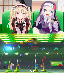 Kobato and Maria playing Muppet Party Cruise by EarWaxKid