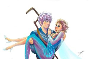 Elsa and Jack Frost by ziqman