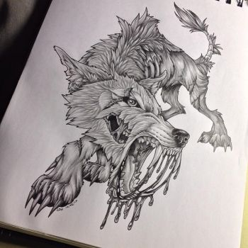 Fluffy the Zombie Wolf by BlvqWulph