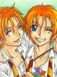 Fred and George and the Candy by m3ru