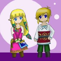 Skyward Sword LinZel Chibis by Dialirvi