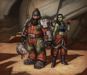 Gren and Brixa, space miners by MeMyMine