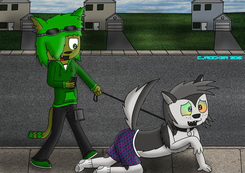 Taking the dog for a walk by Cj-The-Otter