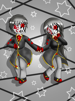 Chibi Mars-diamond and Mars-crystal by SunnyTheSunFlower