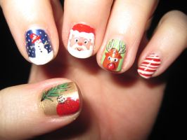 Christmas Nail Art by IndigoVelvet
