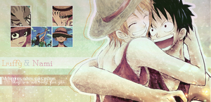 Luffy and Nami Wallpaper by rina-imbers