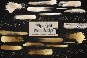 White Gold Paint Strokes by DigitalCurio