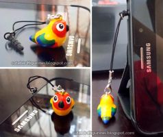 Sun conure charm for phone plug by emmil